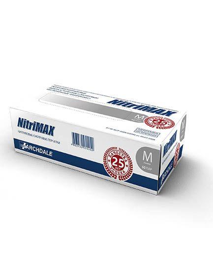 Перчатки нитриловые серые размер M, 100 шт, NitriMax ARCHDALE