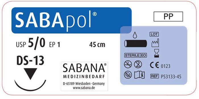 Sabana Medizinbedarf Sabapol 5-0 игла обратно-режущая DS-13, окр. 3/8 пересекающийся, цвет синий, 45см