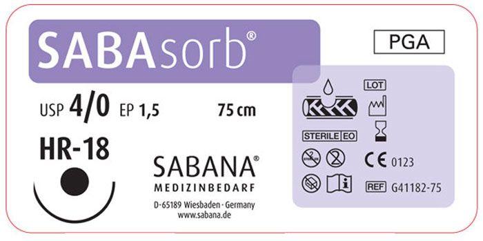 Sabana Medizinbedarf Sabasorb 4-0 игла тупоконечная HR-18, окр.1/2, цвет фиолетовый, 75см