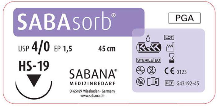 Sabana Medizinbedarf Sabasorb 4-0 игла обратно-режущая HS-19, окр.1/2, цвет фиолетовый, 45см