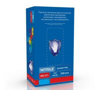 Перчатки SC смотровые нитриловые  (L) (3532) фиолетовые AN 311 200 шт/2000