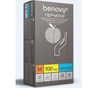 Перчатки нитриловые голубые  размер M, 200шт, Benovy