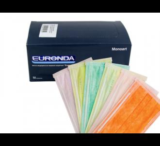 Маски Euronda трехслойные оранжевые, 50шт
