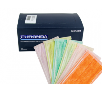 Маски Euronda трехслойные розовые, 50шт