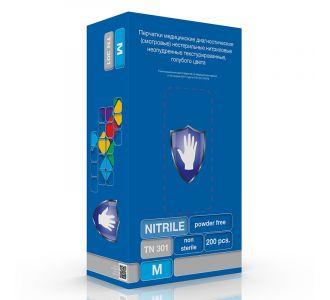 Перчатки нитриловые голубые размер S, 200 шт, SC TN 301