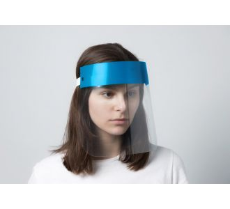 """Пластиковая защитная маска-экран """"Будьте здоровы"""" синяя"""