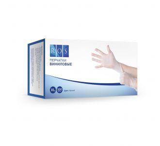 Перчатки виниловые белые, размер XL, 100 шт, ROS