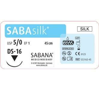 Шелк Sabana Medizinbedarf Sabasilk 5-0 игла обратно-режущая DS-16, окр.3/8 пересекающийся, цвет черный, 45см
