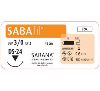 Нейлон Sabana Sabafil 3-0, игла обратно-режущая  DS-24, окружность 3/8, цвет черный, 45см