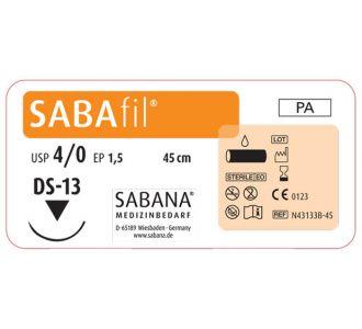 Нейлон Sabana Sabafil 4-0, игла обратно-режущая DS-13, окружность 3/8, цвет черный, 35см
