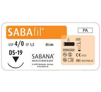 Нейлон Sabana Sabafil 4-0, игла обратно-режущая DS-19, окружность 3/8, цвет черный, 45см