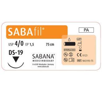 Нейлон Sabana Sabafil 4-0, игла обратно-режущая DS-19, окружность 3/8, цвет черный, 75см