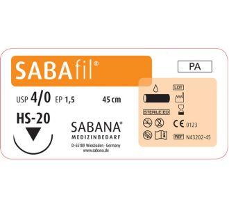 Нейлон Sabana Sabafil 4-0, игла обратно-режущая HS-20, окр. 1/2, цвет черный, 45см