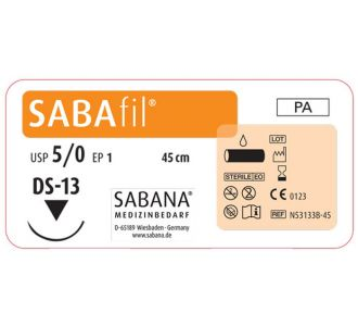 Нейлон Sabana Sabafil 5-0 игла обратно-режущая DS-13, окружность 3/8, цвет черный, 45см