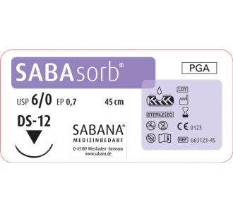 Sabana Medizinbedarf Sabasorb 6-0 игла обратно-режущая DS-12,окр.3/8, цвет фиолетовый, 45см